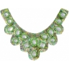 Motif Sequin/beads 27x11.5cm U Shape with crystal Stones Lime